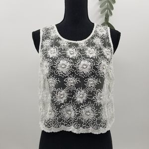 Pearl Lace Overlay Top Size Small
